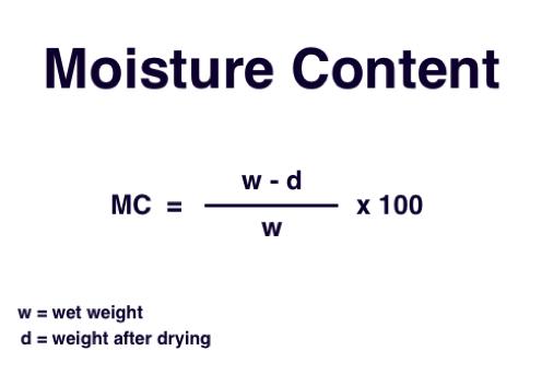 Moisture content formula